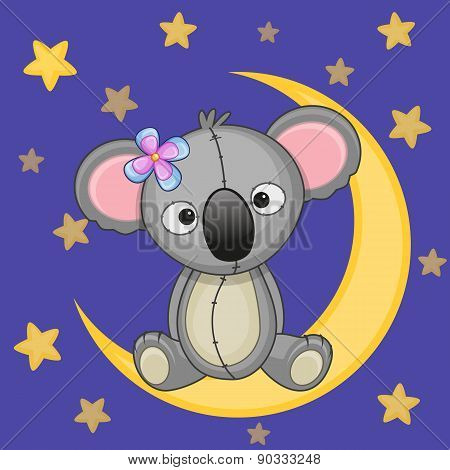 Cute Koala On The Moon