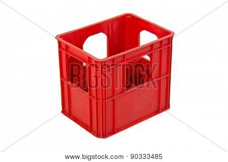 Empty red wine crate isolated on white background
