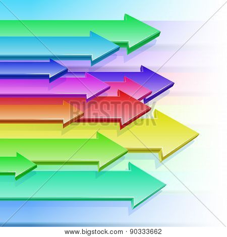 Arrows Flying Color Rainbow 3D Background