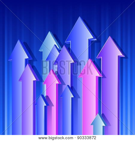 Arrows Flying Up Blue Color 3D Background