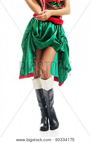 Front view of slim woman legs wearing elf clothes.