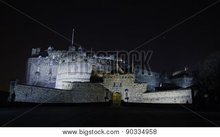 Edinburgh Castle entrance, at night, Edinburgh, Scotland