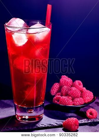 Red raspberry drink  with ice cube on black background. Cocktail card 44