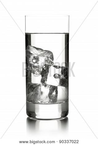 Glass Of Water With Three Ice Cubes