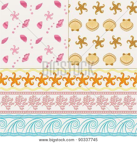 Set of two nautical seamless patterns and three borders