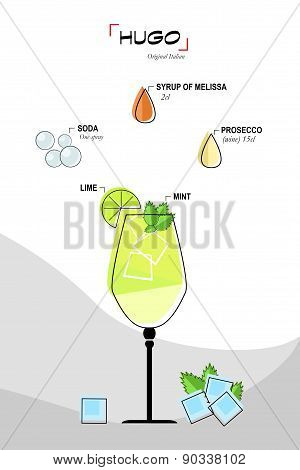Hugo cocktail drawn recipe