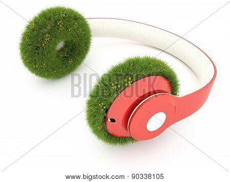 Headphones and grass