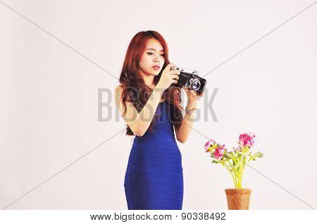 Lady Photographer taking photo
