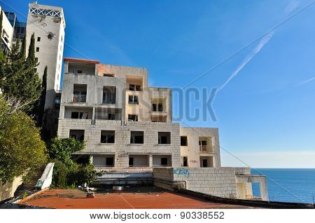 Ruined and abandoned hotel Belvedere in Dubrovnik, Croatia
