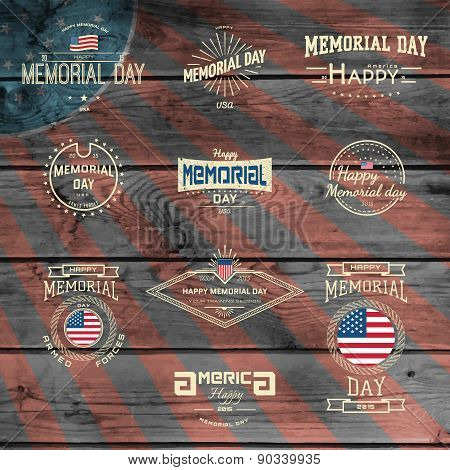 Memorial Day, Badges Logos And Labels For Any Use