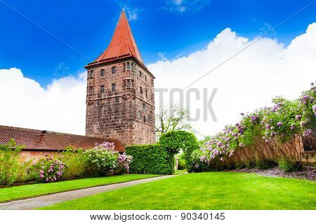 Beautiful garden with tower in Kaiserburg, Germany