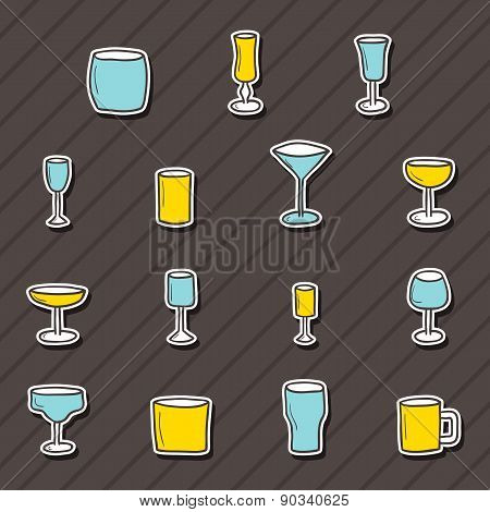 Set of  hand drawn alcohol stickers