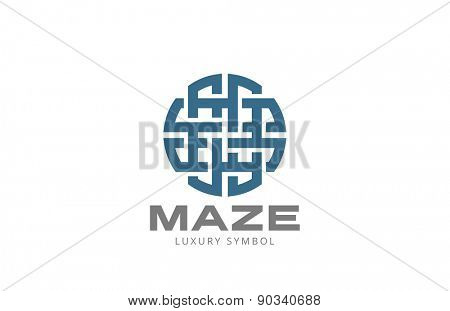 Circle Maze Logo design vector template. Labyrinth looped infinite icon.