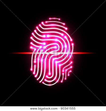 Abstract Fingerprint Scan.letter P.identification And Security System.vector Illustration.