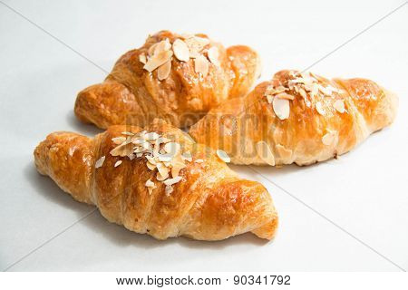 Almond Croissant On A White Background.