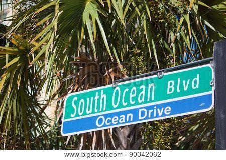 South Ocean Blvd Sign Myrtle Beach