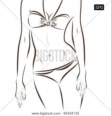 Vector girl in bikini on a white background.
