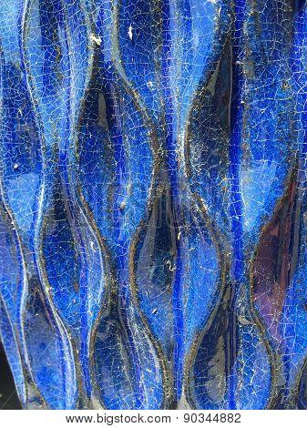 Cobalt Blue Ceramic Pottery Detail