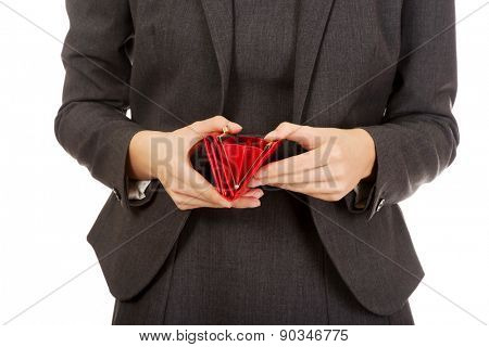 Caucasian businesswoman with empty wallet.