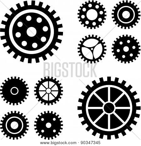 Vector Black Gears Icons Set. Collection Machine Gear