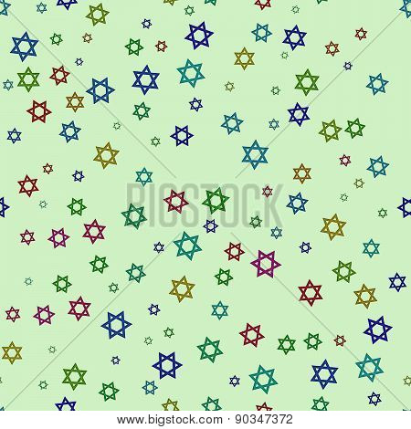 Six-pointed Stars Of Different Colors On A Light Green Background