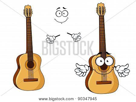 Happy cartoon wooden acoustic guitar
