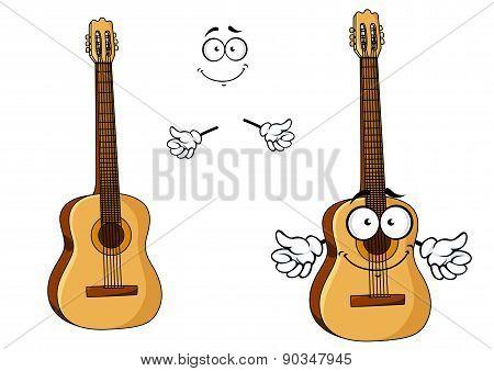 Happy cartoon wooden acoustic guitar