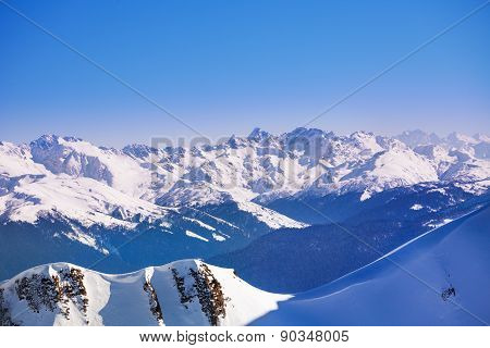 Breathtaking Caucasus mountains view during winter