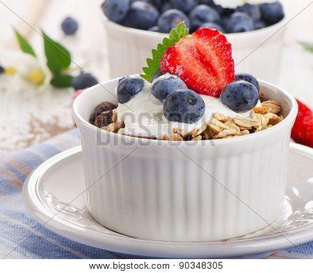 Muesli And Yogurt With  Blueberries