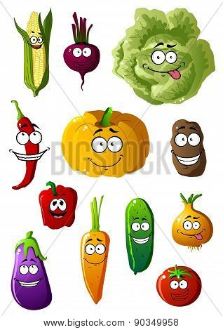 Colorful vegetables characters with happy smiles