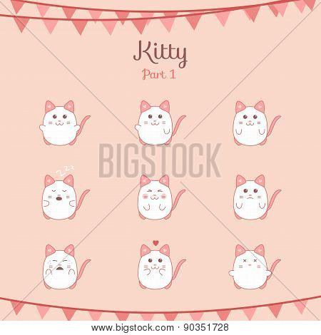 Cute funny cats set various emotions