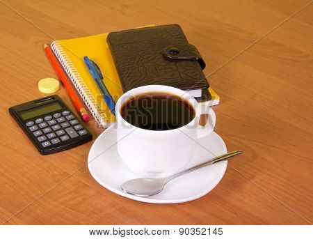 Coffee in office table