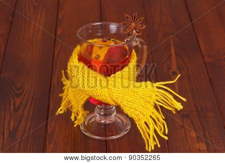 Scarf tied round cup