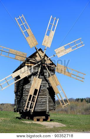 Old wooden windmill in Pirogovo Open-Air Museum, Ukraine