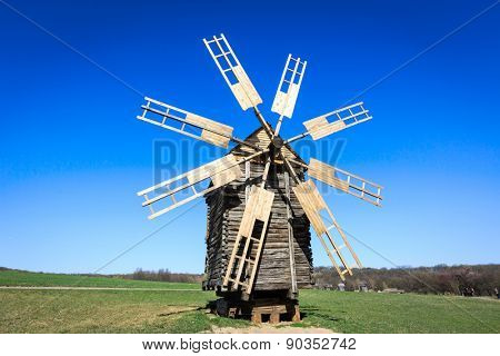 Wooden windmill in open-air museum Pirogovo, Ukraine