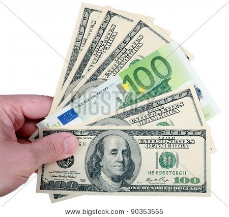 Hand With Dollar And Euro On White