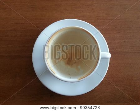 Empty Coffee Cup On Wood Table