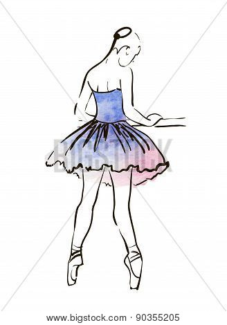 Vector hand drawing ballerina figure