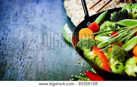 Chinese cuisine. Wok cooking vegetables. Vegetarian wok
