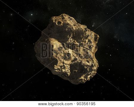 Illustration of a rogue single asteroid in space in front of a background of stars