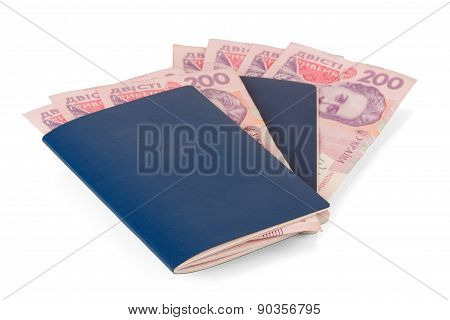 Passport with Ukrainian banknotes