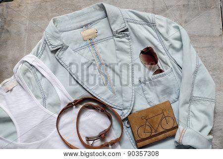 Summer Beach Accessories Slipper Clutch Skirt Sunglasses