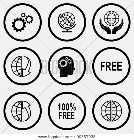Business set. Black and white set raster icons.