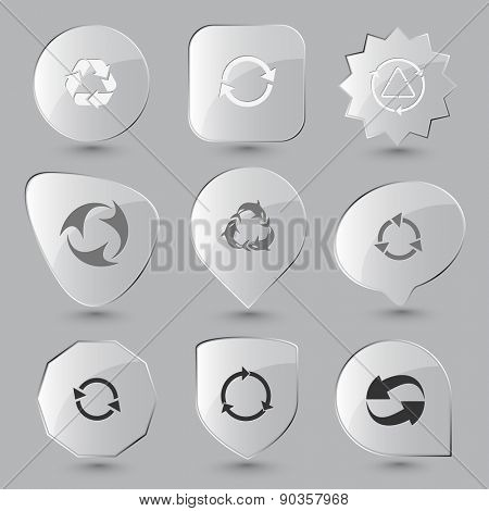 Recycle symbols set. Raster glass buttons.