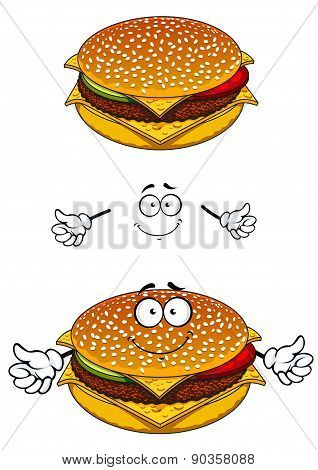Delicious tasty sesame cheeseburger character