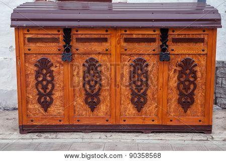 Old Wooden Chest With Locked Lit