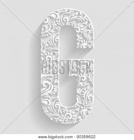 Letter G. Vector Floral Invitation cards Decorative Font