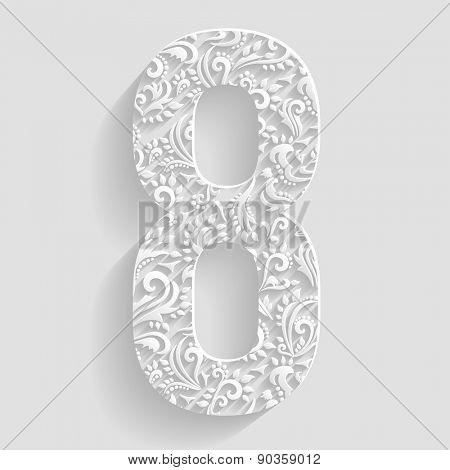 Number 8. Vector Floral Invitation cards Decorative Font