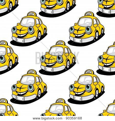 Cartoon taxi character seamless pattern