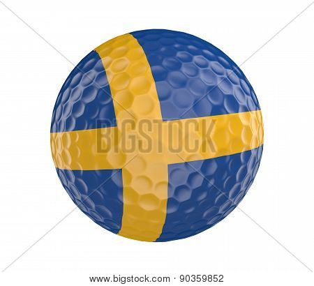 Golf ball 3D render with flag of Sweden, isolated on white